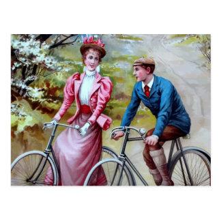 Radfahrenpaar-Postkarte Postkarte