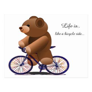 RadfahrenTeddybär-Druck Postkarte