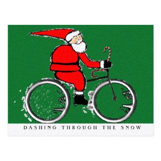 Radfahrenweihnachtskarten Postkarte