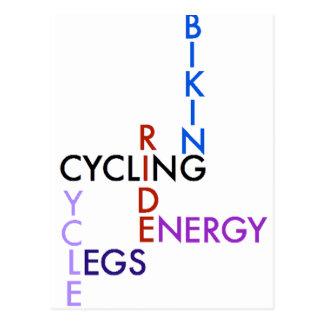 Radfahrenwort-Puzzlespiel Postkarte