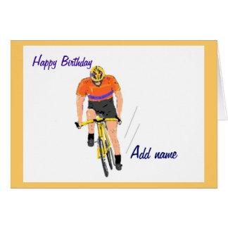 Radfahrer, der Geburtstagskarte läuft. Ändern Sie Karte
