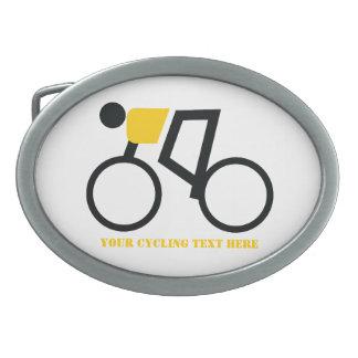 Radfahrer, der seine Fahrradgewohnheit reitet Ovale Gürtelschnallen