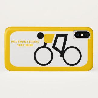Radfahrer, der seins Fahrradgelb, schwarze Ikone iPhone X Hülle