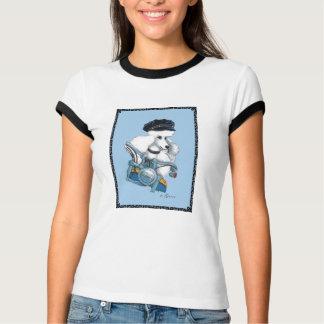Radfahrer-Küken-weißer Pudel auf Harley T-Stück T-Shirt