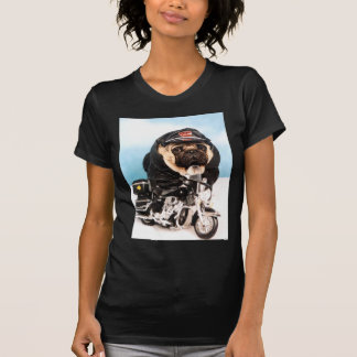 Radfahrer-Mops-Hund T-Shirt