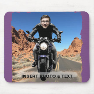 Radfahrer-Motorrad-Straße - fügen Sie IHR Foto u. Mousepad