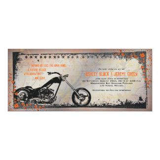 Radfahrer-oder Motorrad-Hochzeits-Einladung 10,2 X 23,5 Cm Einladungskarte
