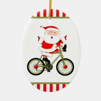 Radfahrer Weihnachten Ovales Keramik Ornament