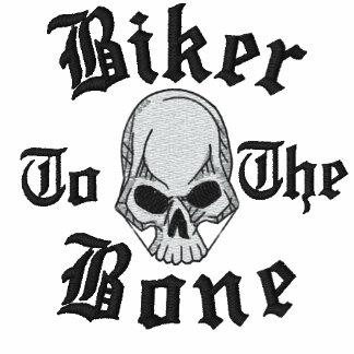 Radfahrer zum Knochen-Schädel gestickten Shirt