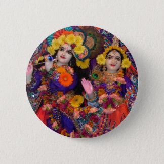 Radha-Krsna Regenbogen-Knopf Runder Button 5,7 Cm
