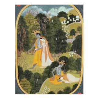 Radha und Krishna, die in eine Waldung gehen Postkarten