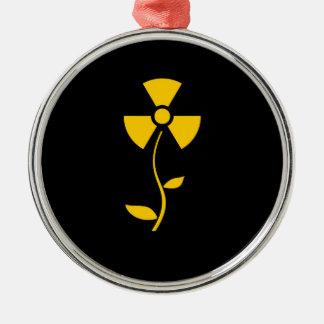 Radioactive Yellow flower design Silbernes Ornament