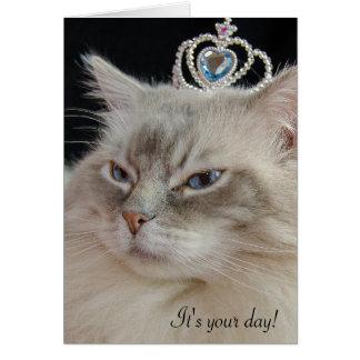 Ragdoll Katze mit jeweled Krone Grußkarte