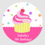 Rainbow Cupcake Birthday Favor Stickers Labels