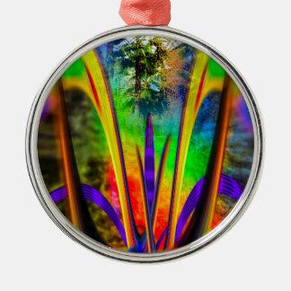 Rainbow Flower Silbernes Ornament