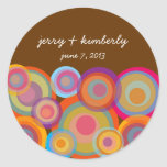 Rainbow Pop Circles Thank You Gift Favors Sticker