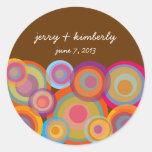 Rainbow Pop Circles Thank You Gift Favors Sticker