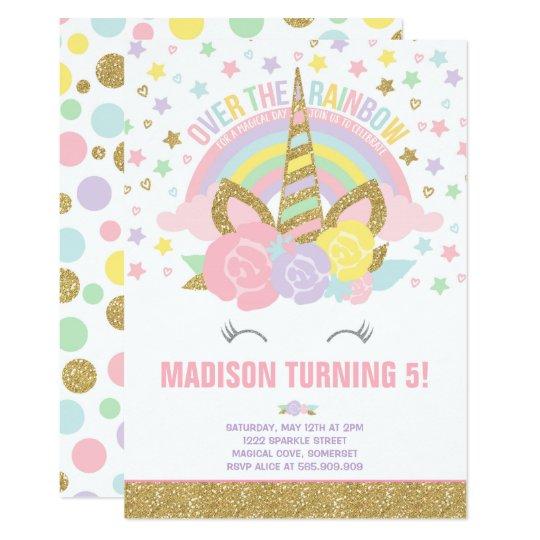 Rainbow Unicorn Birthday Invitation Pink Gold Einladung