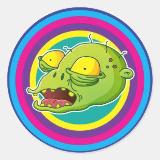 Rainbow Zombie Runder Aufkleber