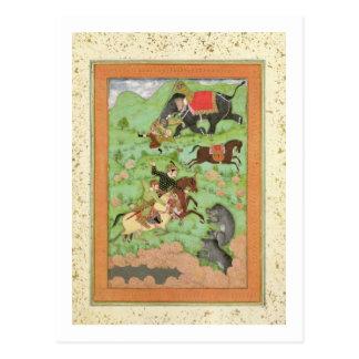 Rajput Prinzen, die Bären jagen; ein Mahout und Postkarte