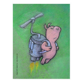 Raketenschweinpostkarte Postkarte