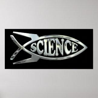 Raketentechnik entwickeln Fische im silbernen Poster