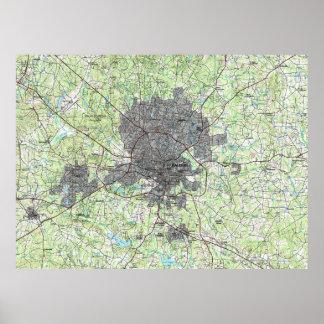 Raleigh-North Carolina Map (1990) Poster