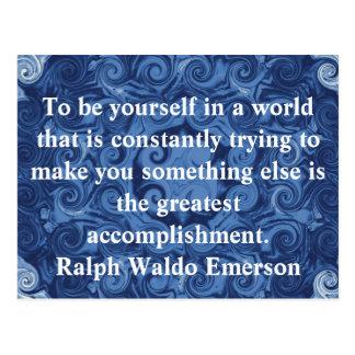 Ralph Waldo Emerson-ZITAT inspirierend Postkarte