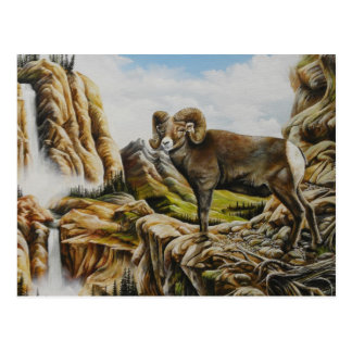 RAM-Ölgemälde mit Wasserfall Postkarte
