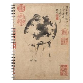 RAM-Schaf-Ziegen-Jahr-Malerei-Notizbuch Notizblock