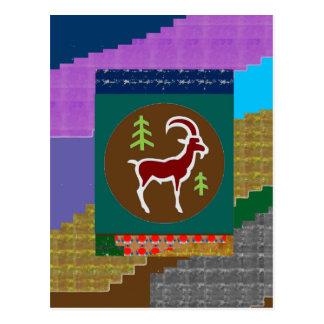 RAM TierColoful künstlerisches Cartoon-Grüße Postkarte