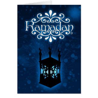 Ramadan-Kartenblau mit Lampe Grußkarte