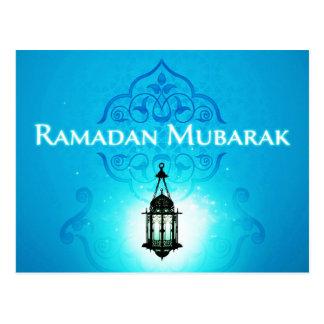 Ramadan Mubarak im schönen blauen Hintergrund Postkarte