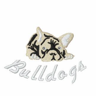 Ranskanbulldoggi Bestickter Reißverschluss Hoodie
