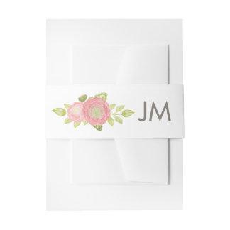 Ranunculus-Monogramm-Blumenhochzeit Einladungsbanderole