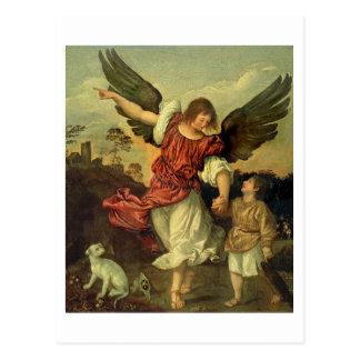 RAPHAEL und Tobias, 1507-8 (Öl auf Platte) Postkarte