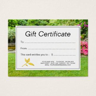 Rasen-und Garten-Geschenkgutschein Visitenkarte