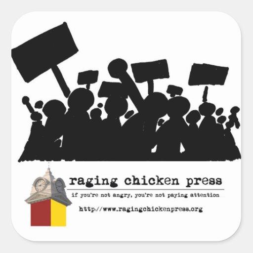 Rasende Huhn-Presse-Protest-Szenen-Aufkleber