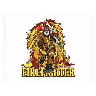 Rasenflammen-Feuerwehrmann Postkarte