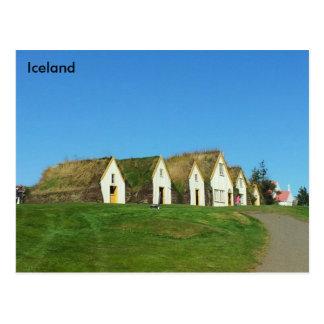 Rasenhäuser in Glaumbær, Island Postkarte