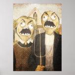 Raserei-Gesicht Meme stellen Comic-noble Malerei g Poster
