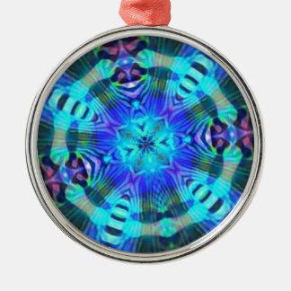 Raserei psychedelisch rundes silberfarbenes ornament