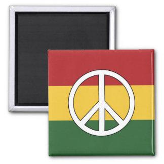 Rasta färbt Friedenssymbol Quadratischer Magnet