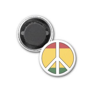 Rasta färbt Friedenssymbol Runder Magnet 2,5 Cm