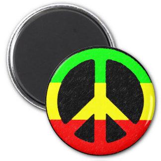 Rasta Frieden-Zeichen Runder Magnet 5,7 Cm