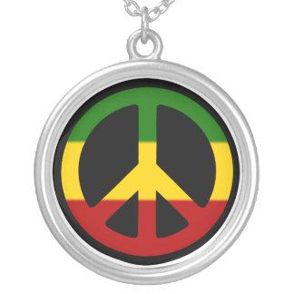 Rasta Friedenshalskette Versilberte Kette