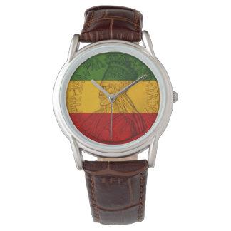 Rasta Haile Selassie Uhr Rastafarian Farben