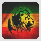Rasta Löweaufkleber Quadratischer Aufkleber
