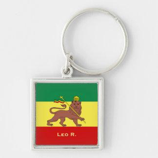 Rasta Reggae-Löwe von Judah Silberfarbener Quadratischer Schlüsselanhänger
