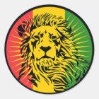 rasta Reggae-Löweflagge Runder Aufkleber